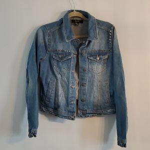 Forever 21 Studded Spiked Jean Jacket